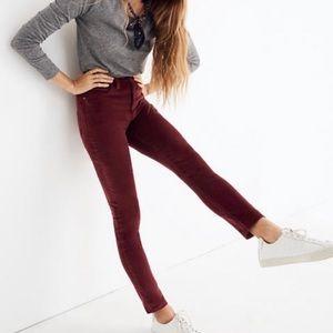 """Madewell 10"""" High-Rise Skinny Jeans Sz 33T Velvet"""
